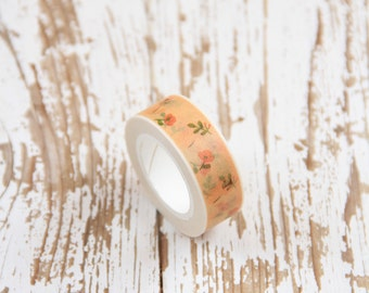 1 Nastro adesivo albicocca con decoro a fiori / Washi tape / Japanese Masking Tape