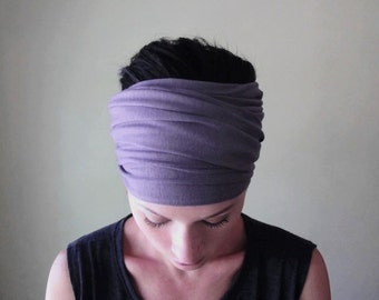 Muted LAVENDER Hair Wrap - Soft Eggplant Head Scarf - Mogal Jersey Blend Headband - EcoShag Womens Hair Accessories