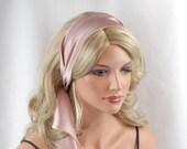 "100% Pure Silk Wild Rose Headband, Size 44"" x 2.75"", Mulberry Charmeuse Silk, Hair Tie, Hair Band, Hair Wrap"