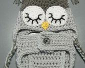 Newborn owl hat and diaper cover (grays)