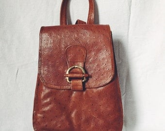 Faux Ostrich Leather Back Pack