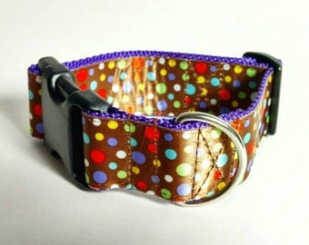 "Ready to Ship - 1.5"" Dog Collar - Colorful Polka Dot Medley on Brown - Purple Webbing"