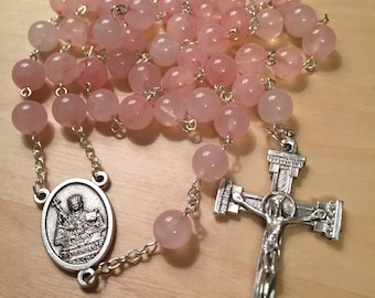 Pale Pink St. Agatha Rosary - Breast Cancer