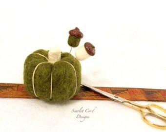 Pin Keep, Needle Felted Pumpkin, Pumpkin Pincushion with Two Acorn Pins, Wool Pincushion