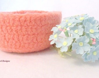 Pink, Felted Wool Bowl, Easter Container, Crochet Bowl, Fiber Container