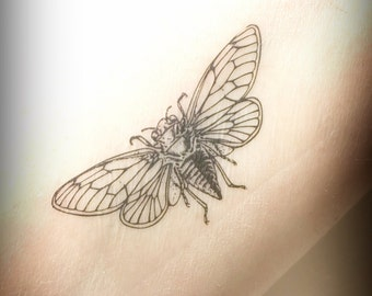 Cicada Temporary Tattoo, Insect, Bug Tattoo, Nature Tattoo, Animal Tattoo