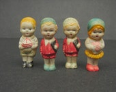 Antique Vintage Bisque Porcelain Miniature Doll Figurines Made in Japan Lot of 4 Made in Japan
