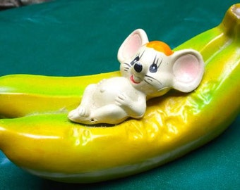 Vintage coin bank Mouse and Bananas plastic kitsch fun piggy bank collectible decor made in Hong Kong mad money gift money  savings