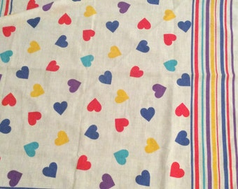 1980s/ 1990s Rainbow Hearts & Stripes Bandana