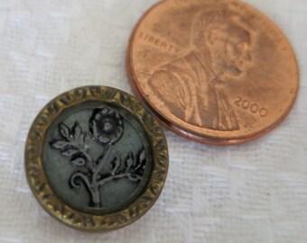 "1  vintage 0.5"" ins picture button.Flor loop back al stem, raised on celluloid, MOP field, metal pie crust brass rim.PFM13.14-14.6-23.24"