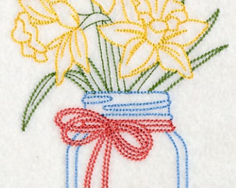 Daffodils in a Mason Jar Embroidered Flour Sack Hand/Dish Towel