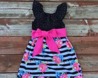 Girls Easter Dress Black White Hot Pink Striped Floral with Sash - 6 12 18 24 2T 3T 4T 5/6 7/8 9/10 Trendy Summer Beach Dress Family Picture