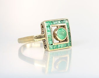 Art Deco Emerald Ring. 14K Solid Gold Square Channel Set. Size 8 Antique Emerald Engagement Ring