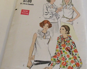 Vintage Vogue Semi Fitted Button Hole or Ruffle Collar Shirt Pattern - Size 14 - Bust 36 - Vogue 7730