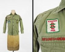 Vintage 50s Boy Scout Shirt Schenectady NY Sanforized Green Twill - Size XS / Small