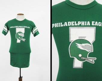 Vintage Philadelphia Eagles T-shirt 80s Champion Jersey Green Made in USA - Small / Med
