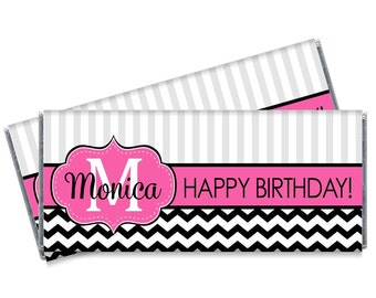 Monogram Birthday Candy Bar Wrappers - Girls Personalized Party Favors - Set of 12