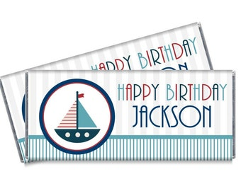 Nautical Candy Bar Wrappers - Boat Nautical Theme Birthday Party Favors - Set of 12