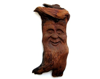 Vintage Black Forest Carved Wood Smiling Green Man Forest Tree Spirit