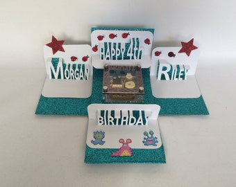 TWINS HAPPY BIRTHDAY Explosion BOx Gift Card w/MUSiC Box  & Pop-Up Names in White, Turquoise w/Red Stars Custom Order One Of A kind