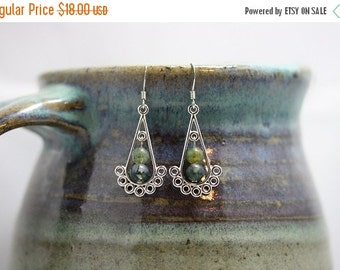 Back from vacation sale - Green Moss Agate Earrings - Item 1721