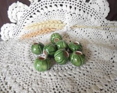 8 Sm Glazed Ceramic Macrame Beads-Round Shaped-Handcrafted-Green-Leaf Green-PM1