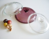 Vintage, Pyrex Lid, Pyrex Visions Lid, Cranberry Pyrex Lid, V2.5C lid, Pyrex France Lid, Pyrex de Corning, 454 Lid, Corning Lid, G5C Lid
