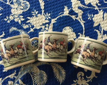 Equestrian trio of coffee cups. Made in Japan. Horses. Polo