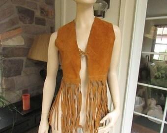 Vintage Suede Fringe Vest, Vintage Clothing, Vintage Vest, Seventies Clothing, 1970's, Bohemian Clothing, Boho Vest, Hippie Suede Vest