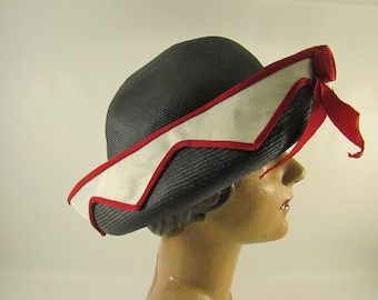 Vintage Navy Blue Straw Hat With Red and White Decorative  Band, Vintage Women's Summer Hat, Catharine Jackson of Haddon Hall Atlantic City