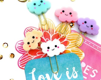 Smiley Clouds Planner Paper Clips Mix | Kawaii Clouds Set of 5 Novelty Resin Paper Clips | Variety Bookmarks - Party Favors. KikkiK Midori