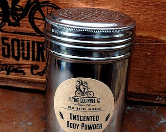 Natural Body Powder, Unscented 10 oz. Stainless Steel Shaker - Item# PWD_UNSCT_01