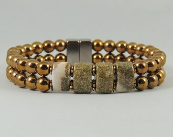 Copper Beaded and Granite Magnetic Hematite Bracelet