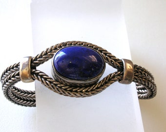 Blue Lapis Bracelet  Sterling Silver Large Lapis Lazuli Silver Woven Chain Bracelet with Large Lapis Gemstone Dark Blue Lapis FREE US ShiP