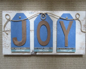 JOY Wall Decor WORD Art - Jesus First, Others Second, Yourself Last - Blue,Aqua & White Reclaimed Wood