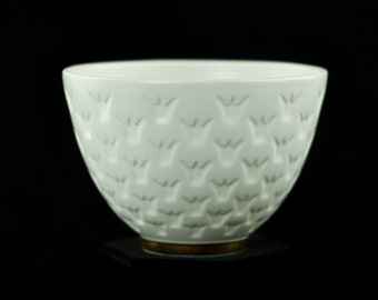 Vintage Gunnar Nylund for Rörstrand Gilded White Porcelain Bowl with Crown Motif