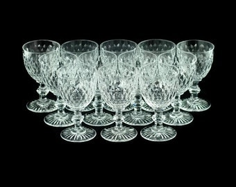 Antique Baccarat Clear Cut Crystal Goblets - Set of 12