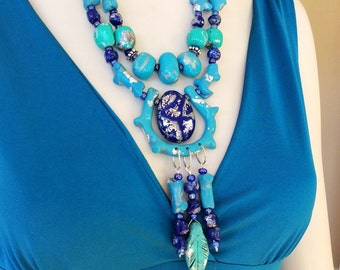 Stone and Coral Waterfall Necklace/Statement Blue Necklace