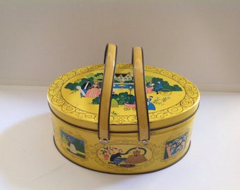 Vintage Sewing Tin Filled With Grandma's Goodies, Collectible Tin with Handles, Metal Sewing Basket