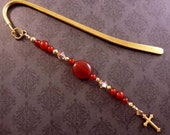 Swarovski Crystal and Red Carnelian Beaded Bookmark with Brass Cross Charm, Religious Bookmarker