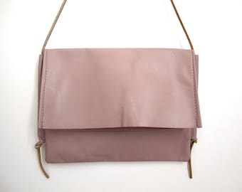 Repurposed Dusty Pink Leather Fold-Over Satchel