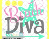 Summer Beach Diva SVG/DXF cutting file