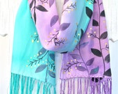 Silk Scarf Hand painted, Mint Green and Purple Scarf, Summer scarf, Silk Art, Fringe Scarf, Black Leaves, Golden Berries, Takuyo, 8x54 inch