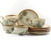Mexican Pottery Demitasse Coffee Tea Cups Saucers Ken Edwards Tonala Blue Birds Folk Art Vintage 1960s