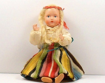Sale International Doll Porcelain Bisque Composition Native Costume Vintage 1940s