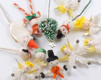 Christmas 12 Ornaments Package Ties Spun Cotton Chenille Mercury Glass Japan x 12