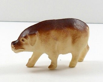 Miniature Celluloid Pig Viscoloid USA Toy Two Tone  Farm Animal  Putz Village Vintage 1930s