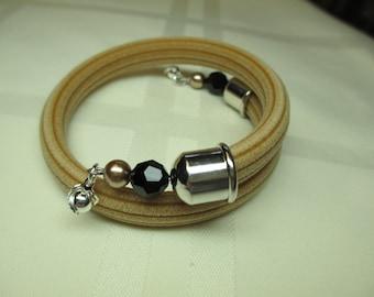 Mocha Tan Corduroy Rubber Wrap Bracelet