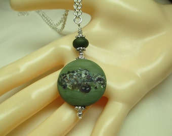 Lampwork Bead Necklace in Olive Green