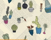 Succulents - Potted Succelents Natural Multi by Heather Givans from Windham Fabrics